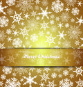 Merry christmas card snowflakes gold background abstract with transparent band Royalty Free Stock Photo