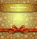 Merry christmas card snowflakes gold background abstract with transparent band Stock Image