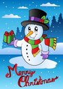 Merry Christmas card with snowman 2 Royalty Free Stock Photos