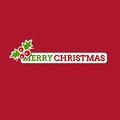 Merry christmas card with stylized sticker holiday design Stock Image