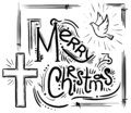 Merry Christmas card with text, cross and dove