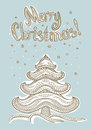 Merry christmas card vector with tree Stock Images