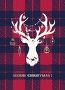 Christmas Card with a White Textured Silhouette of a Deer Head with Gold Hand-Drawn Baubles on Buffalo Checks Background Royalty Free Stock Photo