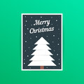 Merry christmas card with white xmas tree