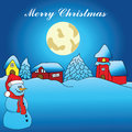 Merry christmas card winter idyll with snowman illustration Stock Images
