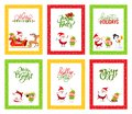 Merry Christmas Greeting Cards with Santa Claus