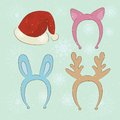 Merry christmas carnival cartoon set in santa hat cat ears bunny ears reindeer Stock Photography