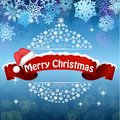 Merry Christmas celebration background with red realistic ribbon banner hat Royalty Free Stock Photo