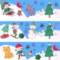 Merry Christmas celebration with children. Kids drawing illustration with ski, gifts, Santa Claus, snowman. Boys and Royalty Free Stock Photo