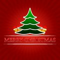Merry christmas with christmas tree and golden gift boxes over r text green signs red rays Stock Photos