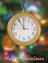 Merry Christmas! Clock (5 minutes to 12) Royalty Free Stock Images