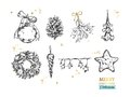 Merry Christmas collection with vector hand drawn illustrations . Christmas ball, Fir-tree cone, Mistletoe, Frozen Star, Lights, C