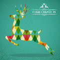 Merry christmas colorful reindeer shape jump transparent geometric elements green background eps vector with transparency Royalty Free Stock Photos