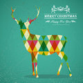 Merry christmas colorful reindeer shape transparent geometric elements green background eps with transparency organized in layers Royalty Free Stock Photography