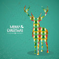 Merry christmas colorful reindeer shape trendy transparent geometric elements green background eps vector with transparency Royalty Free Stock Photography