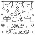 Merry Christmas. Coloring page. Vector illustration.