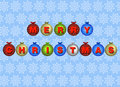 Merry Christmas coloured baubles Stock Photos