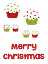 Merry christmas cupcakes red and green polka dot illustrated in various sizes with the words along the bottom to be used in Royalty Free Stock Images
