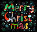 Merry christmas cute lettering card Royalty Free Stock Images