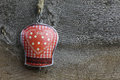 Merry christmas decoration gingham heart pattern tin bell handmade on over rustic elm wood background retro style design copy Stock Photography