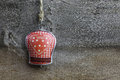 Merry christmas decoration gingham heart pattern tin bell handmade on over rustic elm wood background retro style design copy Royalty Free Stock Photo