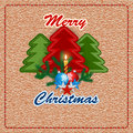 Merry Christmas, design background with sewing fabric Christmas tree and Candle light