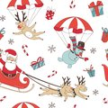 Merry Christmas doodle seamless pattern background. Santa Claus with deers and snowman, decoration and presents