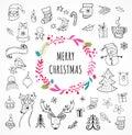 Merry Christmas - Doodle Xmas symbols, hand drawn illustrations
