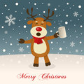 Merry Christmas with Drunk Reindeer Royalty Free Stock Photo
