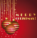 Merry christmas elegant red and gold greeting car card with ornaments Stock Photos
