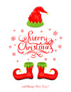 Merry Christmas with elf hat and shoes Royalty Free Stock Photo