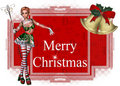 Merry Christmas Elf Tag Stock Photography