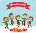 Merry christmas elves a few children celebrating elf costumes Royalty Free Stock Photos
