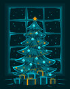 Merry Christmas Eve and Night, Happy New Year seasonal winter greeting card