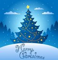 Merry Christmas evening scene 3 Royalty Free Stock Images