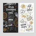 Merry Christmas festive Winter Menu on Chalkboard. Design template includes different Vector hand drawn illustrations and Brushpen Royalty Free Stock Photo
