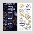 Merry Christmas festive Winter Menu on Chalkboard and Invitation card. Design template includes different Vector hand drawn Royalty Free Stock Photo