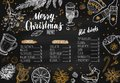 Merry Christmas festive Winter Menu. Design template includes different Vector hand drawn illustrations and Brushpen Modern Royalty Free Stock Photo