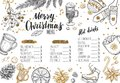 Merry Christmas festive Winter Menu. Design template includes different Vector hand drawn illustrations and Brushpen Modern Callig Royalty Free Stock Photo