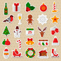 Merry Christmas Flat Icons. Happy New Year Stickers. Royalty Free Stock Photo