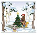 Merry Christmas Forest animals. Selebration on the meadow Royalty Free Stock Photo