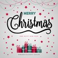 Merry Christmas gift poster. Christmas gold glittering with lettering design. Happy new year design card. Christmas box surprise