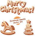 Merry christmas gingerbread sign horse and trees vector set Royalty Free Stock Photos