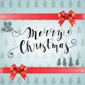 Merry Christmas glittering lettering design. Vector illustration
