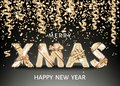 Merry Christmas gold background with decorative letters with gift bows