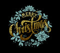 Merry Christmas Gold Calligraphic Lettering Design Royalty Free Stock Photo