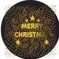 Merry Christmas gold glittering lettering design. Vector illustration . balls