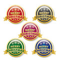 Merry christmas golden buttons on the white background eps file Royalty Free Stock Image