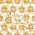 Merry Christmas golden stripe seamless pattern