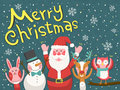 Merry Christmas graphic with Santa and animals Royalty Free Stock Photo